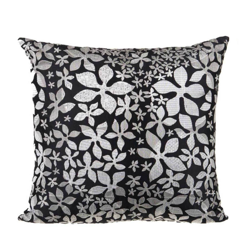 "Elena/ Checkmate: Silk embroidered cushion cover (16"" x 16"")"