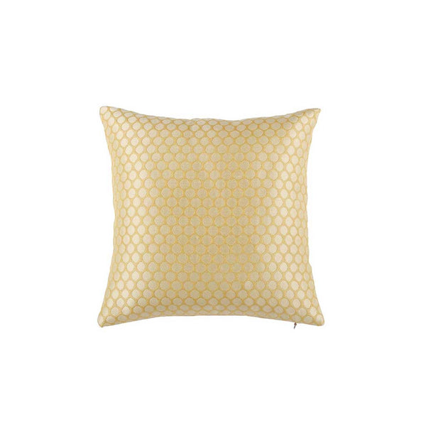 "Polka/ Daffodil: Silk woven cushion cover (12"" x 12"")"