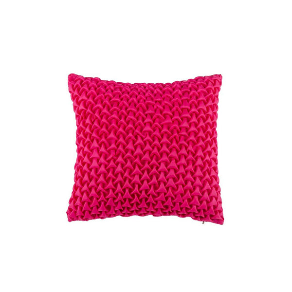 "Mosaic Pyramids/ Strawberry: Textured faux silk cushion cover (12"" x 12"")"