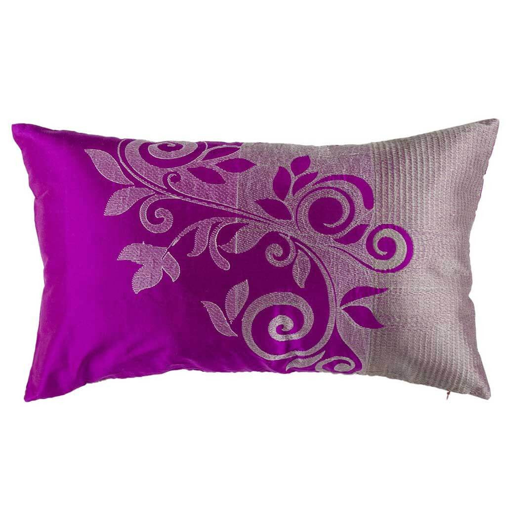"Ombre Trellis/ Elderberry Wine: Silk embroidered cushion cover (12"" x 20"")"
