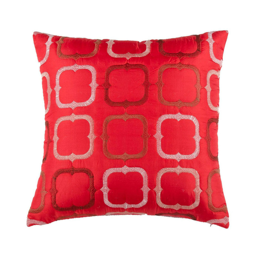 "Blocks/ Regal Red: Faux silk quilted cushion cover (16"" x 16"")"