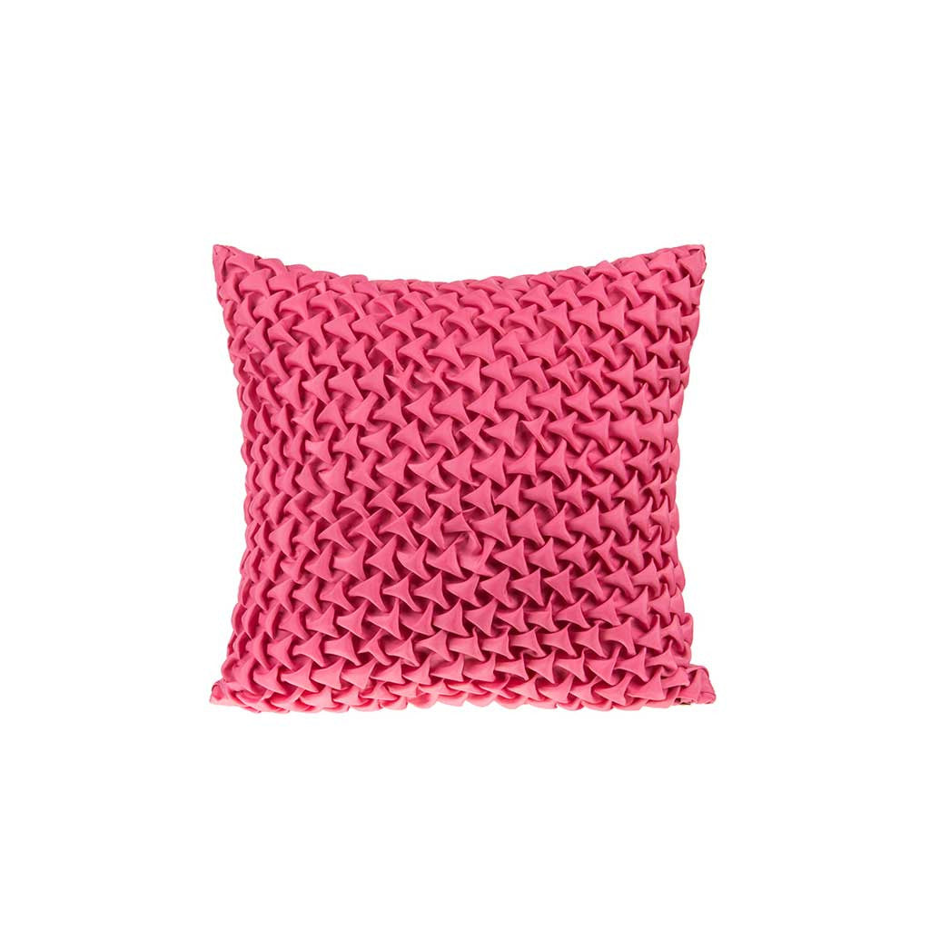 "Mosaic Pyramids/ Hot Pink: Textured faux silk cushion cover (12"" x 12"")"