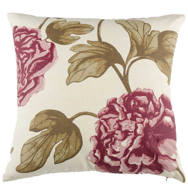 Purple Linen Floral Printed Designer Cushion Cover | Onset Designs