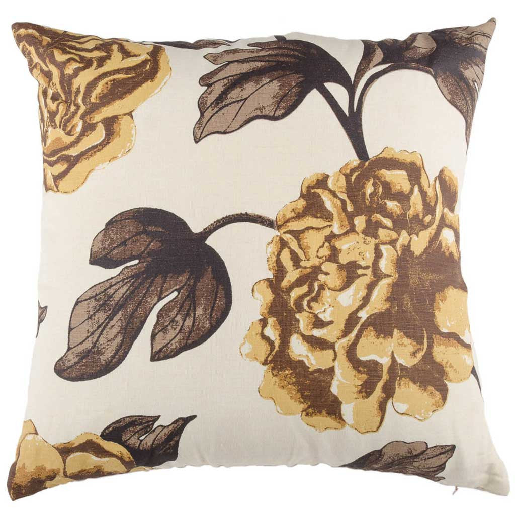 Yellow Linen Floral Printed Designer Cushion Cover | Onset Designs