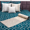 "Metallic Grill/ Aqua bay: Embroidered and quilted  velvet bed cover (96"" x 108"")"
