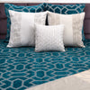 "Velvet grid/ Aqua Bay: Velvet embroidered cushion cover (18"" x 18"")"