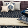 Blue velvet Embroidered Designer Bed Cover/Onset Design