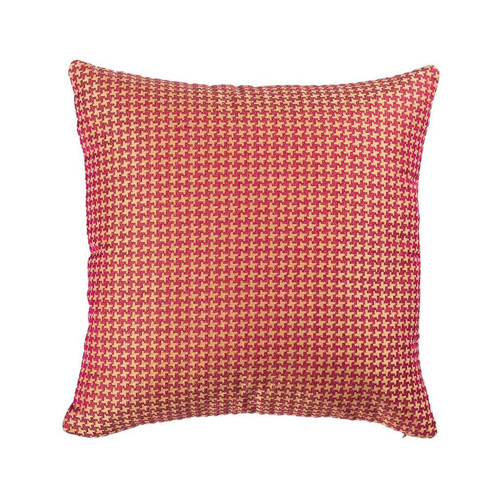 "Houndstooth/ Riviera Sand: Silk embroidered cushion cover (16"" x 16"")"