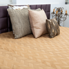 "Zigzag/ Biscuit: Embroidered and quilted faux silk bed cover (96"" x 108"")"