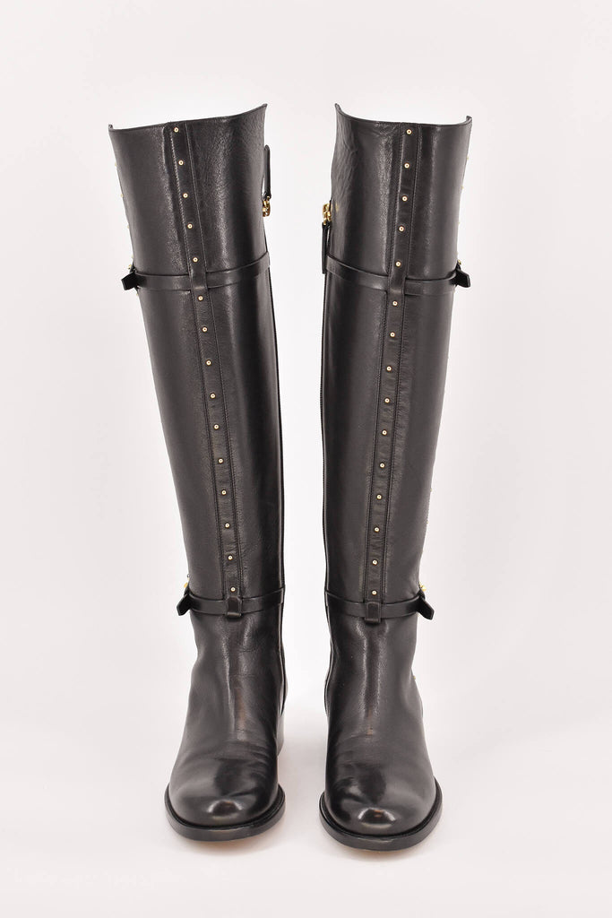 Valentino Black Studded Leather Knee High Riding Boots size 36.5