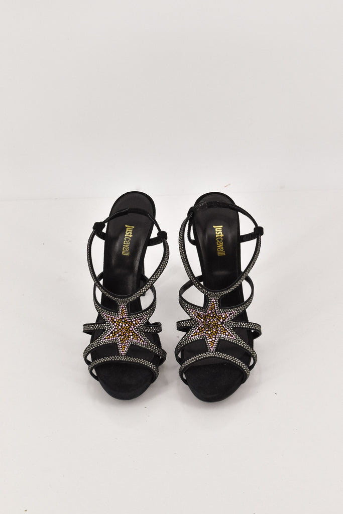 Just Cavalli Black Star Embellished Heels size 40