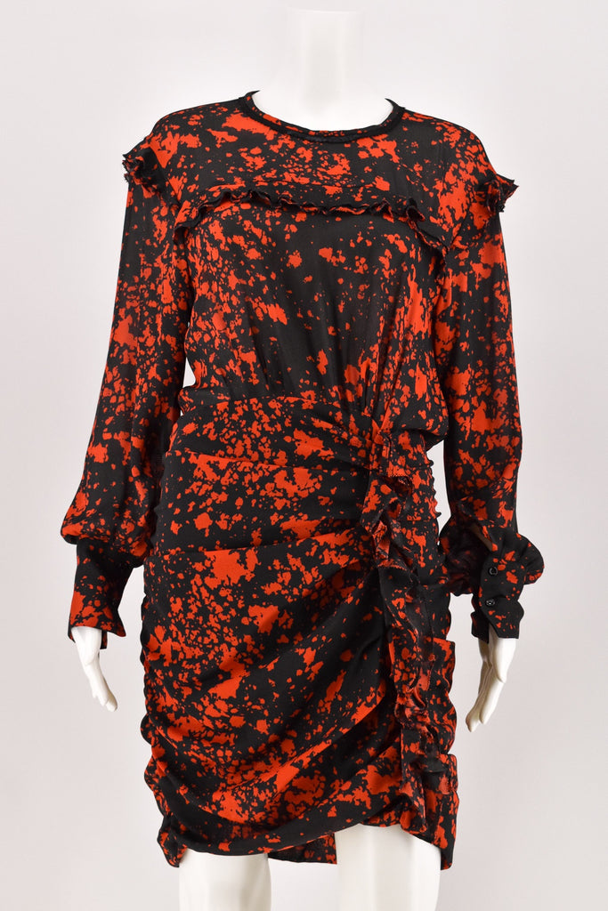 Isabel Marant Red/Black Abstract Print Long Sleeve Ruched Dress size 40