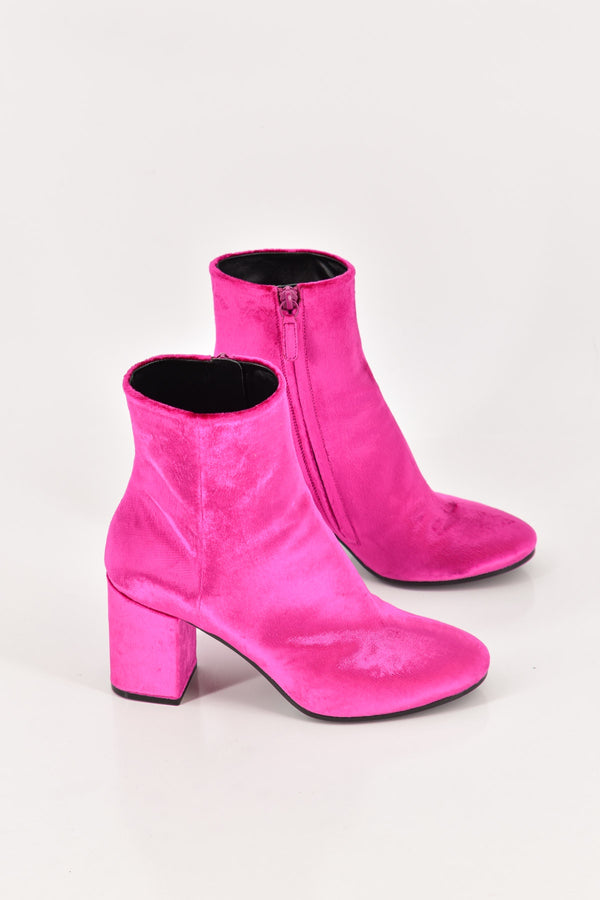 Balenciaga Pink Velvet with Block Heel Ankle Boots