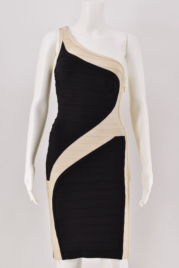 Herve Leger Asymetrical Black/Beige Bandage Dress Small
