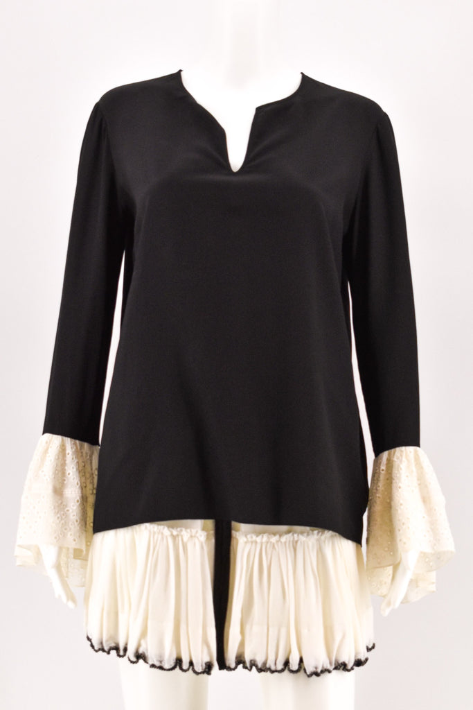 Saint Laurent Black Contrasting Bell Sleeve Blouse size 42