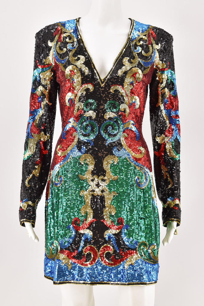 Balmain Multi Color Embellished Baroque-Print Mini Dress size 40