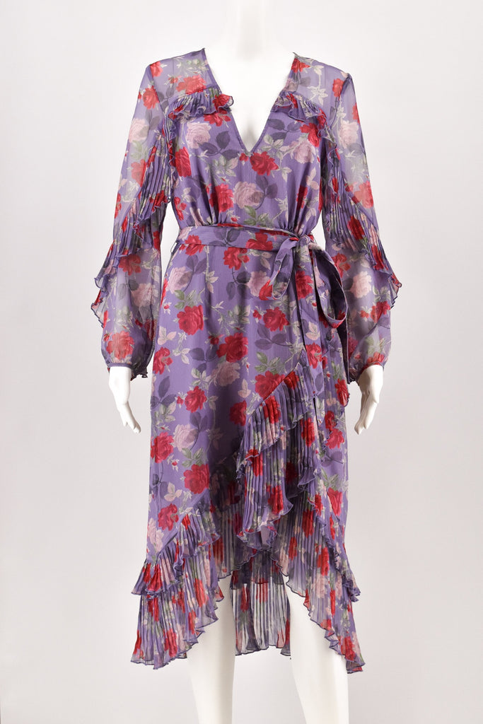 La Maison Talulah Lilac Floral Print Pleated Hem Dress size Small
