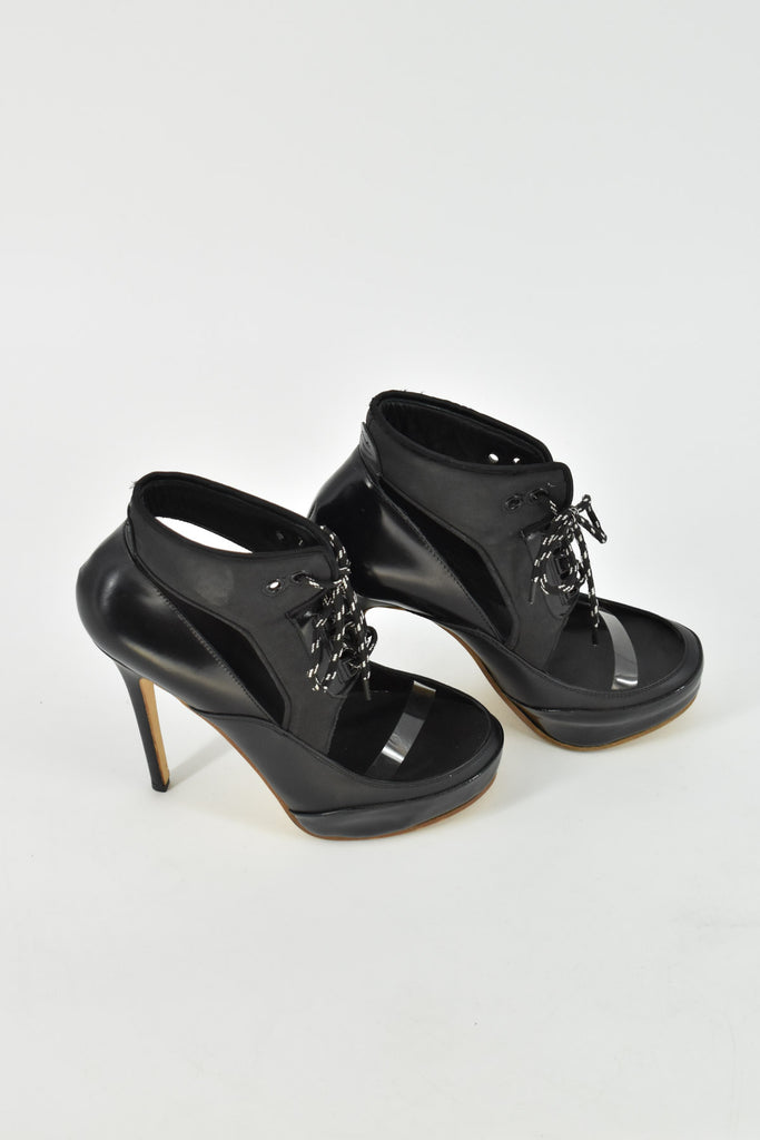 Acne Studios Black Lace Up Open Leather Platform Heels 37