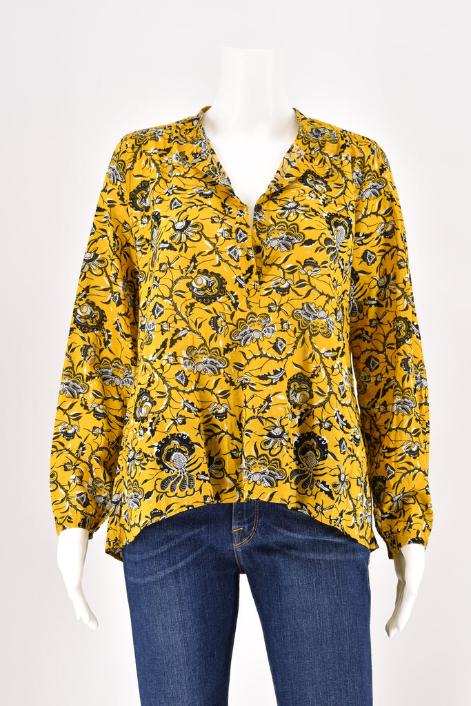 Isabel Marant Etoile Yellow Amaria Floral Pattern Blouse size 38