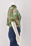 Amur Green Neil Floral Print Silk Cropped Blouse Small
