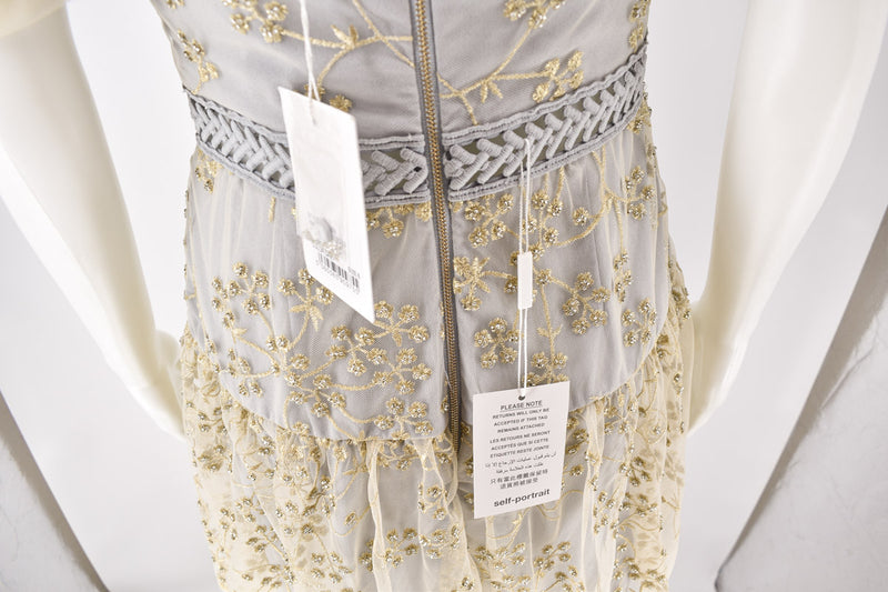 Self-Portrait Grey Gold Embroidered Dress size 10