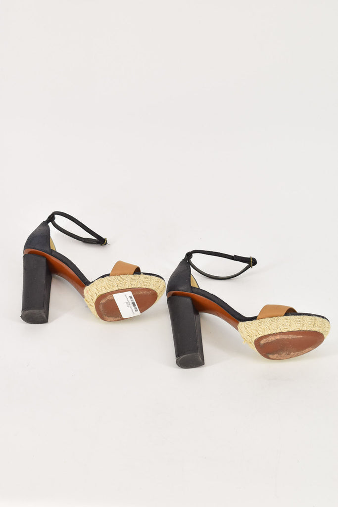 Lanvin Black & Nude Leather Ankle Strap Heels 36.5