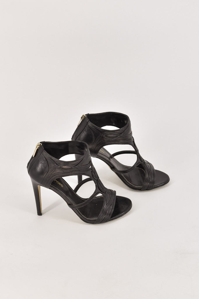 Sergio Rossi Black Open Toe Back Zip Stilettos 36.5