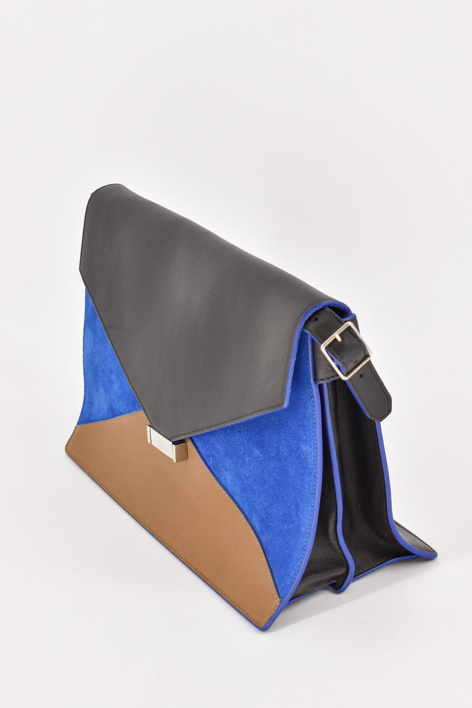 Celine  Envelope Black & Brown Leather w/ Blue Suede Handbag