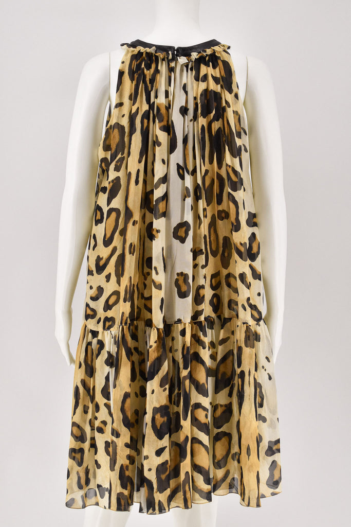 Giambattista Valli Leopard Print Leather Trim Collar Sleeveless Dress Small