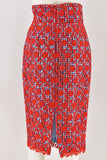 Stella Jean Red Floral Lace Gingham Pencil Skirt size 42
