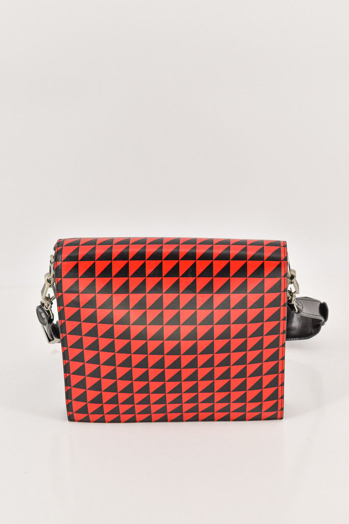 Proenza Schouler Red/Black Triangle Print Leather Record Bag
