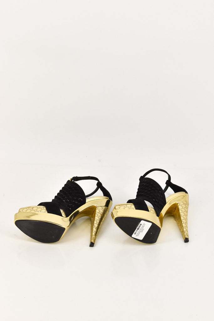 Stella McCartney Black Suede Gold Ankle Strap Stilettos 36.5