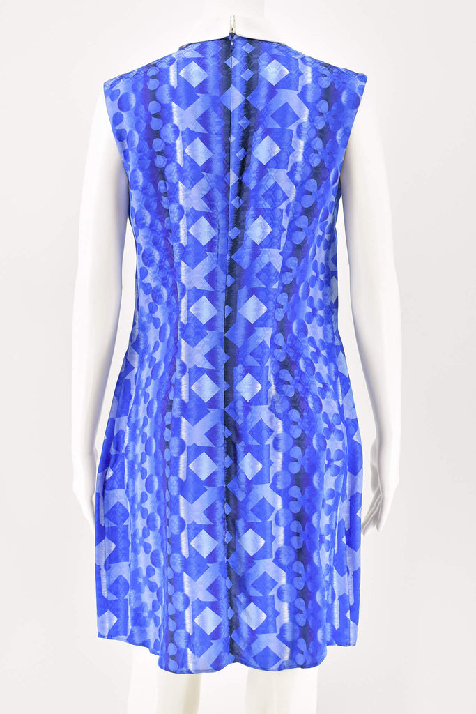 Peter Pilotto Blue Multi-color Printed Silk-Blend Jacquard Mini Dress size 10