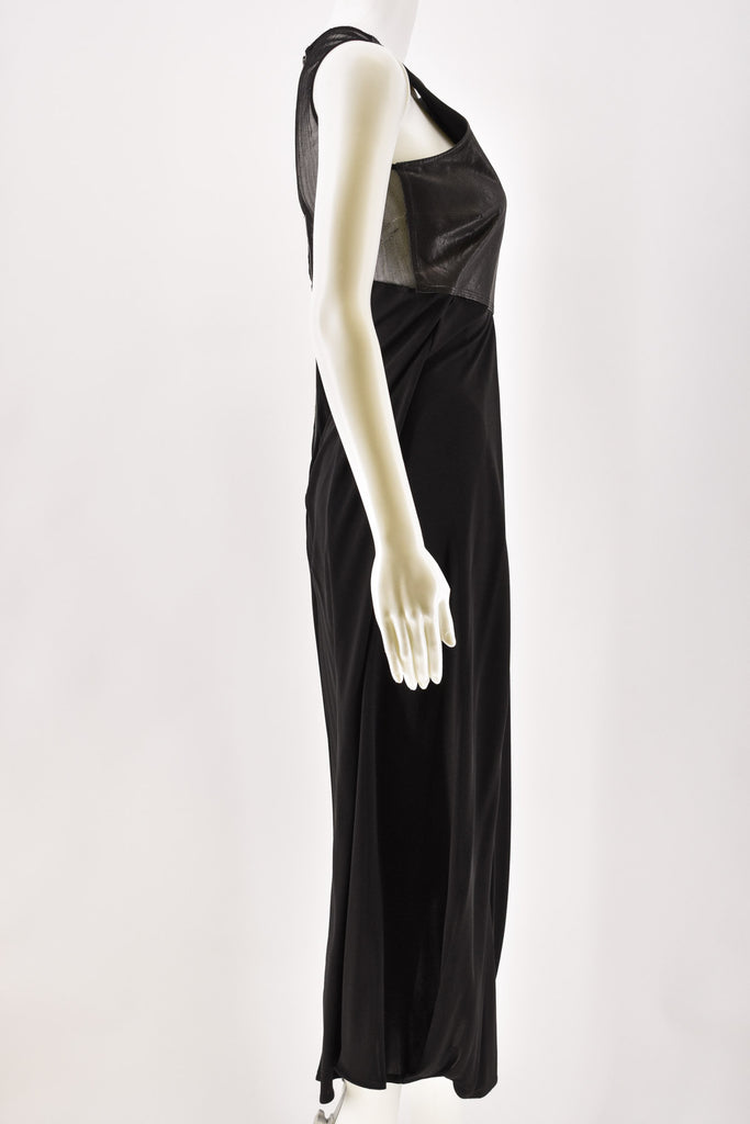 Damir Doma Black Lamb Leather and Mesh Full Length Dress Size 36