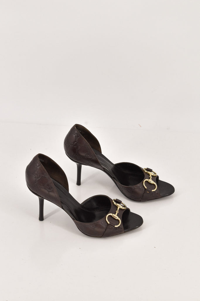 Gucci Brown Leather G Stamped Print Peep Toe Pumps size 39