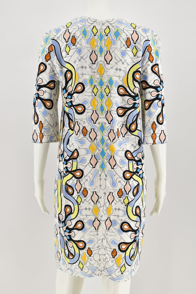 Peter Pilotto Multi Print Round Collar 3/4 Sleeve Dress size 8