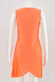 Christopher Kane Fluro Orange Sleeveless Pleated Shift Dress size 8