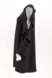 Valentino Black Lace-Inset Ruffled Long-Sleeve Dress size 42