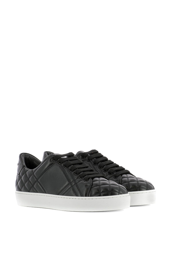 Burberry Quilted Black Leather Sneakers size 38.5