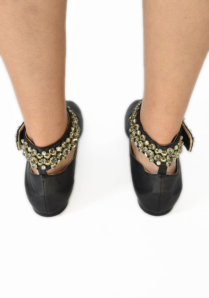 Chloe Black Slippers with Embellished Ankle Wrap Size 38.5
