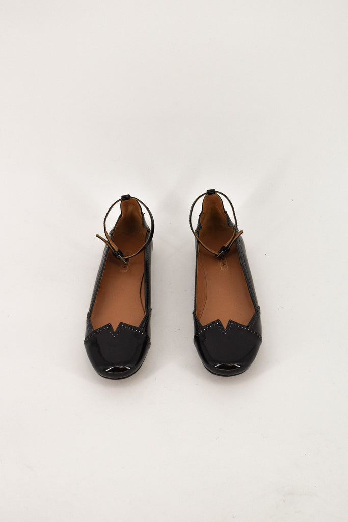 Alaia Black Patent Round Toe Ankle Strap Flats 36