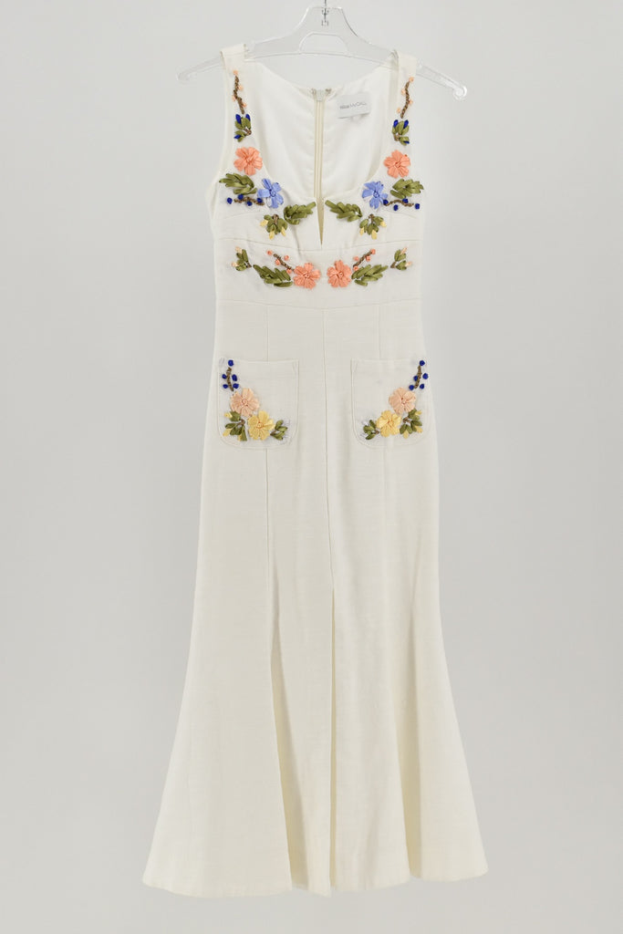 Alice McCall White Sleeveless Rainbow City Embroidered Midi Dress size 8