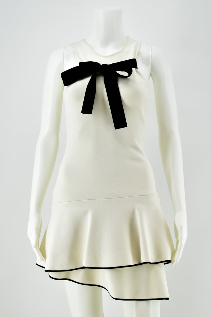 Proenza Schouler Cream Sleeveless Black Tie-Front Bow Dress Small