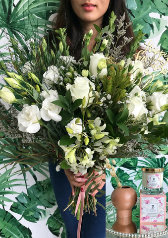 White and Green Bouquet & Bespoke Candle