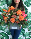 Orange and Tropical Bouquet & Bespoke Candle