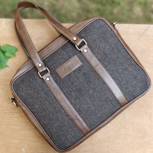 Brown Herringbone Tweed and Vegan Leather Laptop Bag