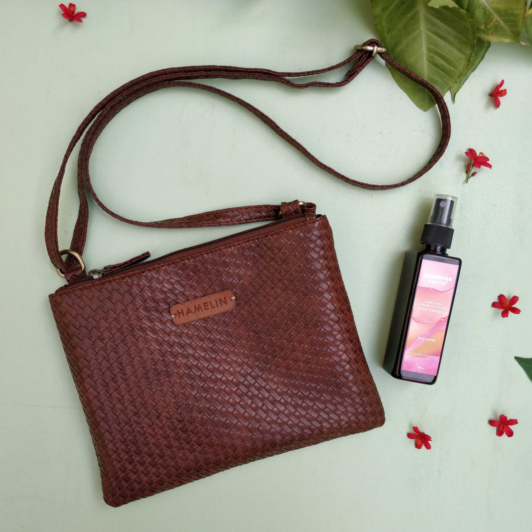 The Everyday Sling Bag - Brown & 100% PURE Steam-Distilled Rose Mist
