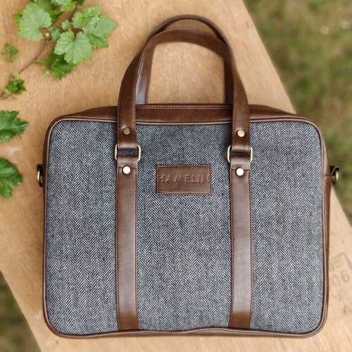 Gray Herringbone - Tweed and Vegan Leather Laptop Bag