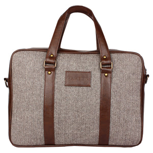 Tawny Herringbone - Tweed and Vegan Leather Laptop Bag