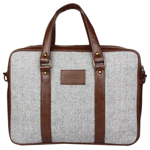 Flint Herringbone - Tweed and Vegan Leather Laptop Bag